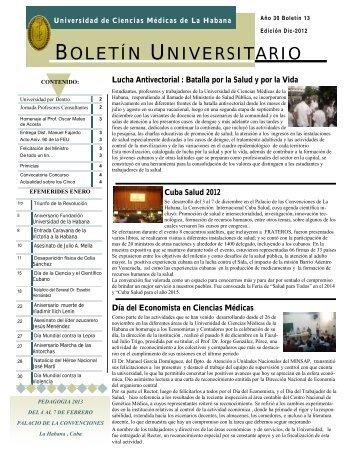 BOLETÍN UNIVERSITARIO - Instituciones - Infomed