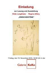 Einladung mit Informationen zur Ausstellung - Galerie KoKo