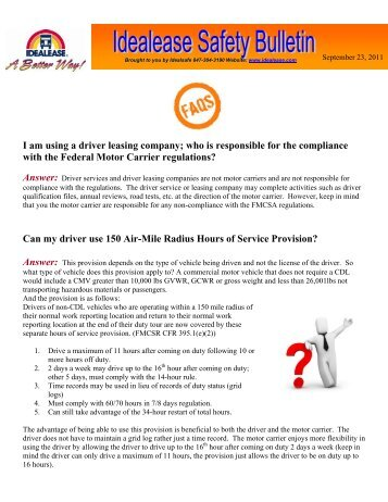 I am using a driver leasing company; who is responsible ... - Idealease