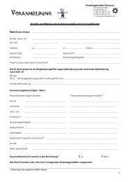 VORANMELDUNG - Formular - Kindergarten Diespeck