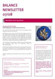 BALANCE NEWSLETTER 07/08 - Galerie KoKo