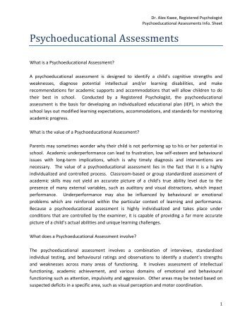 Psychoeducational Assessments - Dr. Alex Kwee R.Psych