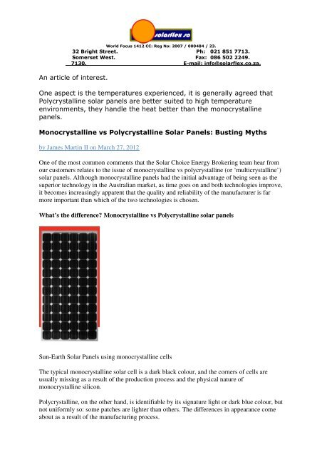 Comparing Solar Panel Types: Monocrystalline vs Polycrystalline