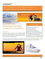 Sony Ericsson Uses Personalization to Engage Users ... - MediaMind