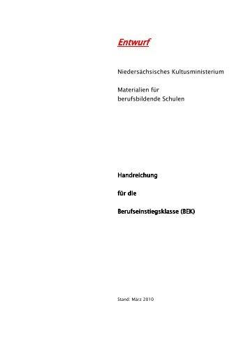 Handreichung August Berufsvorbereitung In Niedersachsen