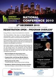NatioNal CoNfERENCE 2010 - Energy Efficiency Council