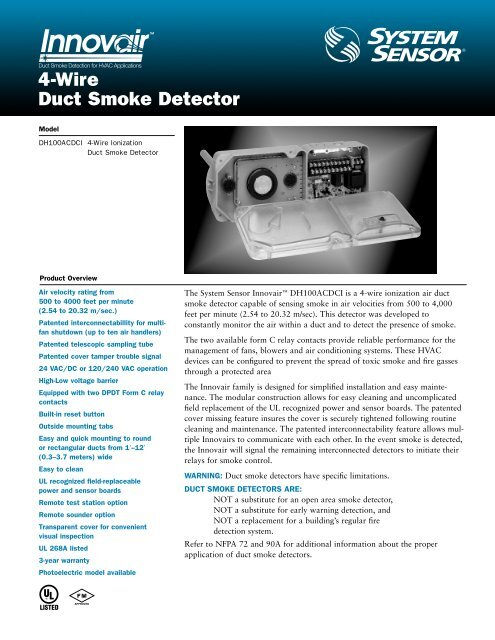 4-Wire Duct Smoke Detector - Cerber.pro