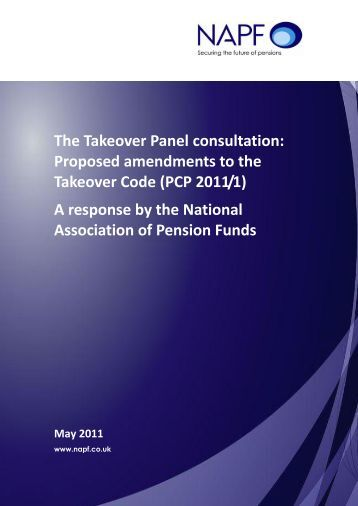 National Association of Pension Funds - The Takeover Panel