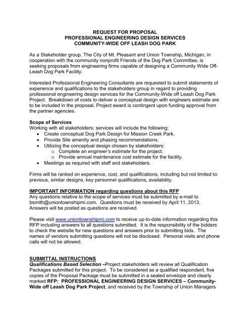 Request for Proposals - Dog Park Design - Union Township