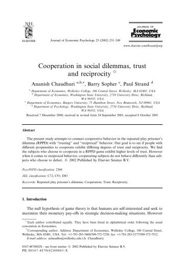Cooperation in social dilemmas, trust and reciprocity - ResearchGate