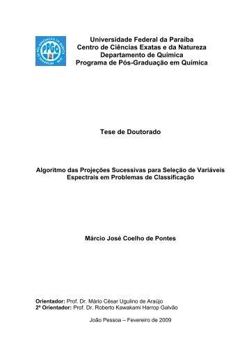 Algoritmo das Projeções Sucessivas Para Seleção de ... - PPGQ