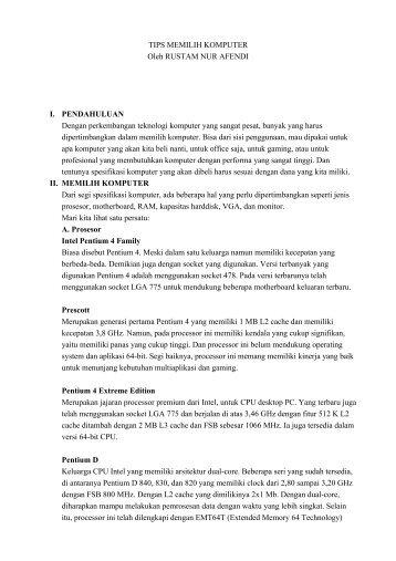 TIPS MEMILIH KOMPUTER Oleh RUSTAM NUR ... - kontak ugm