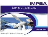 FY2011 Earnings Presentation - - impsa
