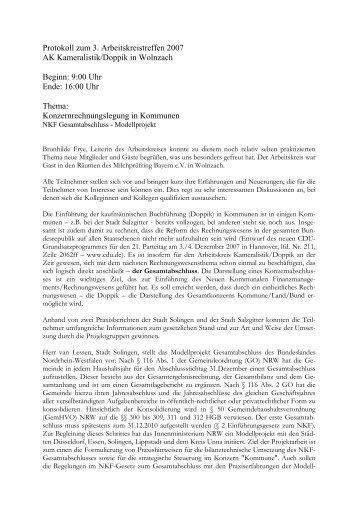 Protokoll Kameralistik Doppik 29.09.2007 - BiBu Kronach