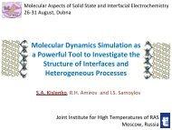 Molecular Dynamics Simulation as a Powerful ... - elch.chem.msu.ru