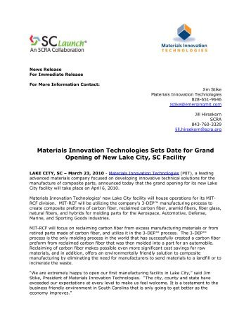 Materials Innovation Technologies Sets Date for Grand Opening of .