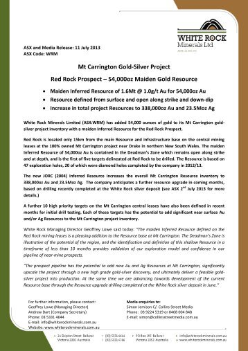 20130711 Red Rock Prospect Maiden Gold Resource - White Rock ...