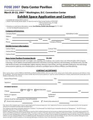 Exhibit Space Application and Contract FOSE ... - The Expo Group