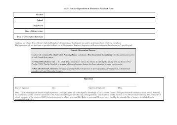 Pre Observation Notes/Observation Feedback