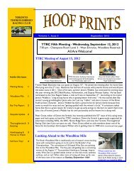 Hoof Prints September 2012 - Toronto Thoroughbred Racing Club