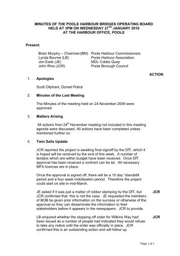 minutes of the poole harbour bridges operating board held at 2pm ...