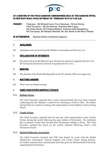 PHC Commissioners Minutes - Poole Harbour Commissioners