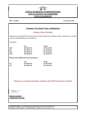 poole harbour commissioners local notice to mariners poole harbour