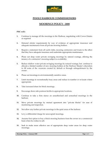 POOLE HARBOUR COMMISSIONERS MOORINGS POLICY - 2008