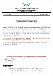 POOLE BRIDGES TIMETABLE - Poole Harbour Commissioners
