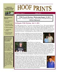 Hoof Prints August 2012 - Toronto Thoroughbred Racing Club