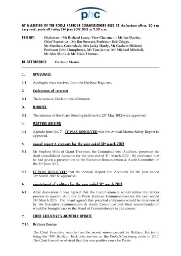 website mins june mins 2012 - Poole Harbour Commissioners