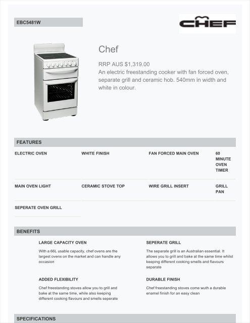Chef Ebc5481w Upright Electric Stove