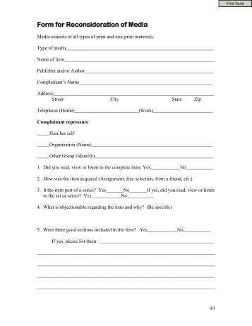 Request for Reconsideration of School Library Materials form