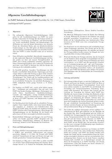 Allgemeine Geschäftsbedingungen - PoINT Software & Systems ...
