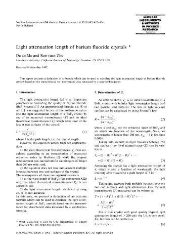 Light attenuation length of barium fluoride crystals - CiteSeerX