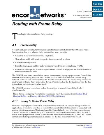 Chapter 6 - Routing with Frame Relay & X.25 - Encore Networks