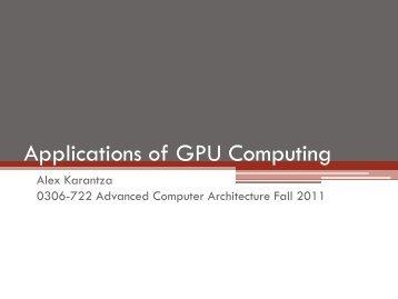 Applications of GPU Computing