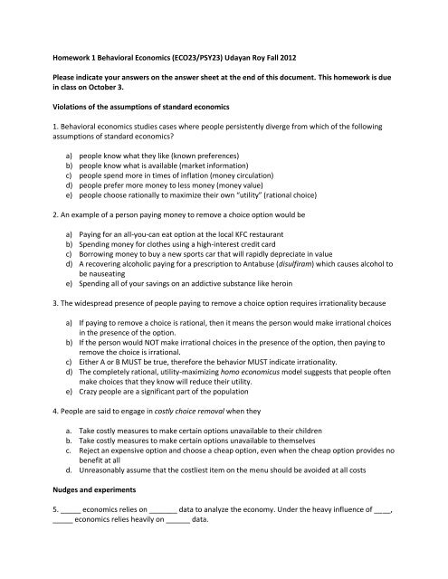 Homework 1 Behavioral Economics (ECO23/PSY23) Udayan Roy