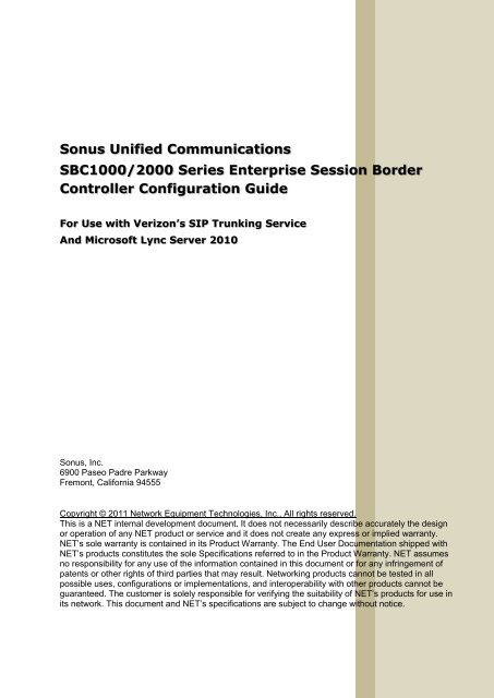 VZ SIP Trunk - Lync Configuration Guide v1 - Sonus Networks