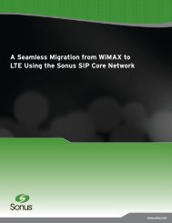 A Seamless Migration from WiMAX to LTE Using ... - Sonus Networks