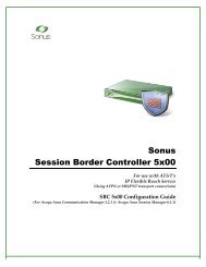 SBC 5x00 Configuration Guide for ATT IP Flexible ... - Sonus Networks