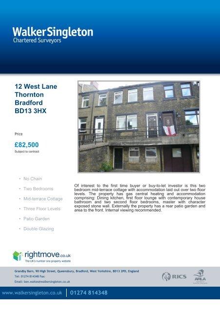 Thorntons Gas Prices >> 12 West Lane Thornton Bradford Bd13 3hx Walker Singleton