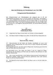 Satzung über die Erhebung von Hundesteuer