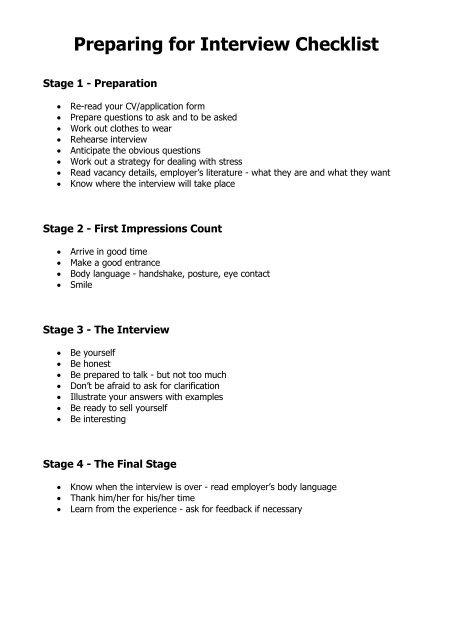 preparing for interview checklist