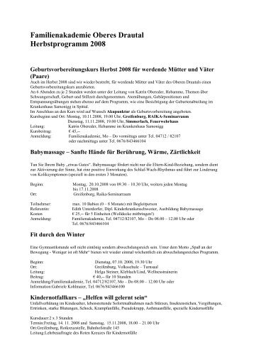 Familienakademie Oberes Drautal Herbstprogramm 2008