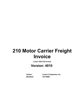 210 motor carrier freight details and invoice loweslink