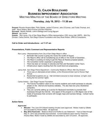 Minutes - El Cajon Boulevard Business Improvement District