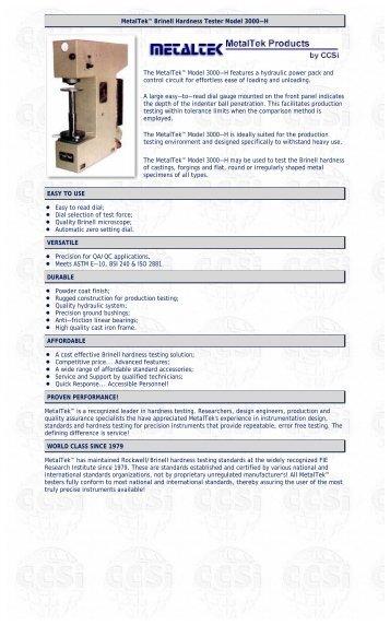 MetalTek Brinell Scale Metal Hardness Tester Model 3000-H (ASTM ...