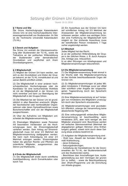 Satzung der Grünen Uni Kaiserslautern