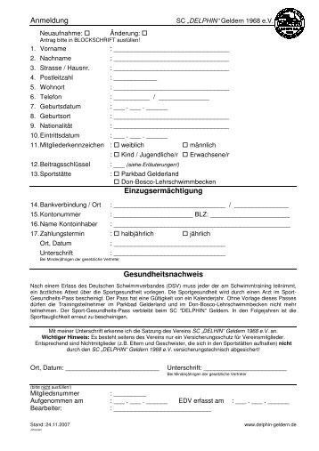 Anmeldung Einzugsermächtigung Gesundheitsnachweis